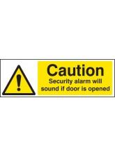Caution Security Alarm Will Sound If Door Is Opened