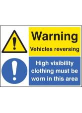 Warning Vehicles Reversing High Vis Clothing Must Be Worn