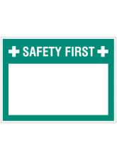 "Large Wipe Clean Board ""Safety First (Write your Message)"""