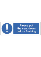 Please put the seat down before flushing