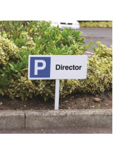 Parking Director - White Powder Coated Aluminium 450 x 150mm (800mm Post)
