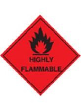 Roll of 100 Highly Flammable Labels - Roll of 100 100mm